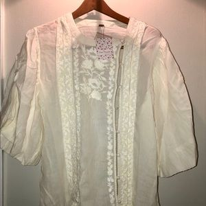 Free People Cream Embroidered Blouse